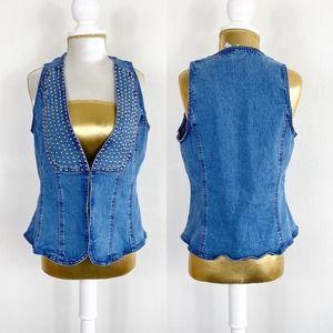 DG2 by Diane Gilman Denim Vest Embellished M